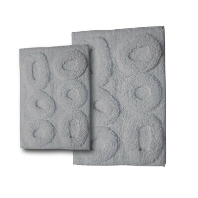 Castle 2 Piece Castle Hill 100% Cotton Pebble Spray Latex Bath Rug Set Size: 24 H X 17 W and 40 H X 24 W, Color: White