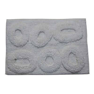 Castle 100% Cotton Pebble Spray Latex Back Bath Rug Size: 24 H X 17 W, Color: White