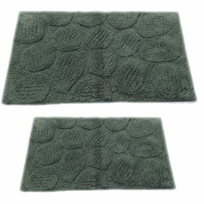 Castle 2 Piece 100% Cotton Palm Spray Bath Rug Set Color: Green, Size: 24 H X 17 W and 40 H X 24 W