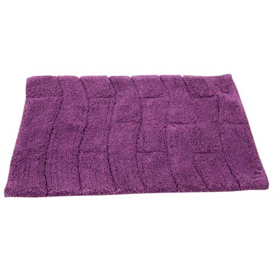 Castle 100% Cotton New Tile Spray Latex Back Bath Rug Size: 40 H X 24 W, Color: Aubergine