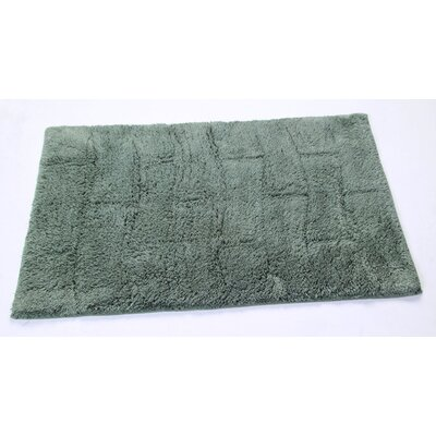 Castle 100% Cotton New Tile Spray Latex Back Bath Rug Size: 24 H X 17 W, Color: Green