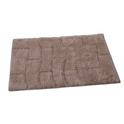 Castle 100% Cotton New Tile Spray Latex Back Bath Rug Size: 24 H X 17 W, Color: Natural