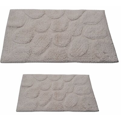 Castle 2 Piece 100% Cotton Palm Spray Bath Rug Set Size: 24 H X 17 W and 34 H X 21 W, Color: Ivory