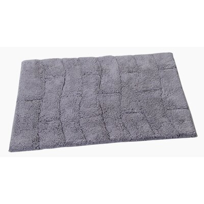 Castle 100% Cotton New Tile Spray Latex Back Bath Rug Size: 24 H X 17 W, Color: Silver
