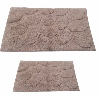 Castle 2 Piece 100% Cotton Palm Spray Bath Rug Set Size: 24 H X 17 W and 40 H X 24 W, Color: Natural