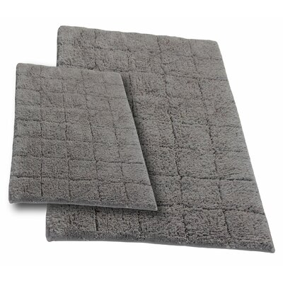 Castle 2 Piece 100% Cotton Summer Tile Spray Latex Bath Rug Set Color: Stone, Size: 34