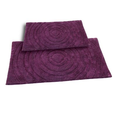 Castle 2 Piece 100% Cotton Echo Spray Latex Bath Rug Set Size: 34 H X 21 W and 40 H X 24 W, Color: Aubergine