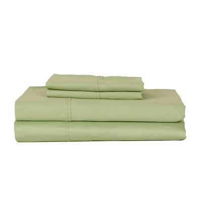 Castle Hill London 410 Thread Count Egyptian-Quality Cotton Sheet Set Size: Twin, Color: Celedon