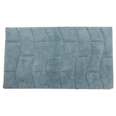 Castle 100% Cotton New Tile Spray Latex Back Bath Rug Size: 24 H X 17 W, Color: Light Blue