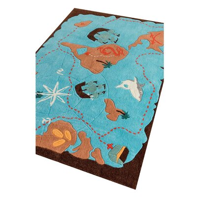 Pirate Captains Hand-Tufted Blue Kids Rug