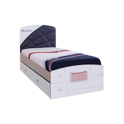 First class airplane twin panel bed with trundle and storage for Airplane bed frame