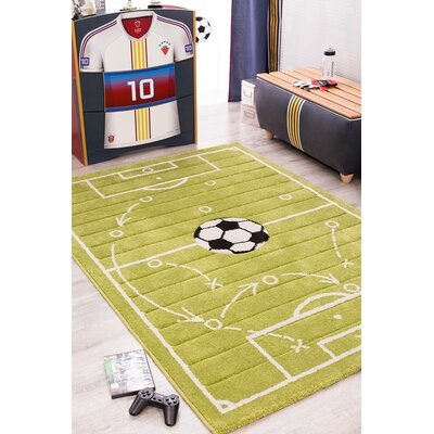 Soccer Grass Green Area Rug