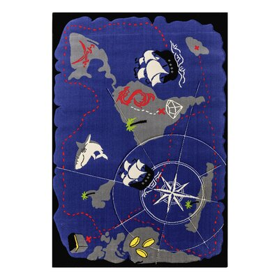 Black Pirate Hand-Tufted Blue Kids Rug