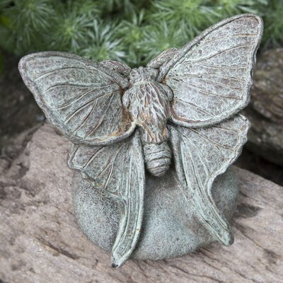 Lunar Moth Statue Color: Travertine