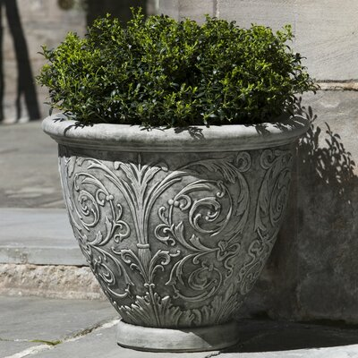 Arabesque Cast Stone Pot Planter Finish: Alpine Stone, Size: Small P-521-AS