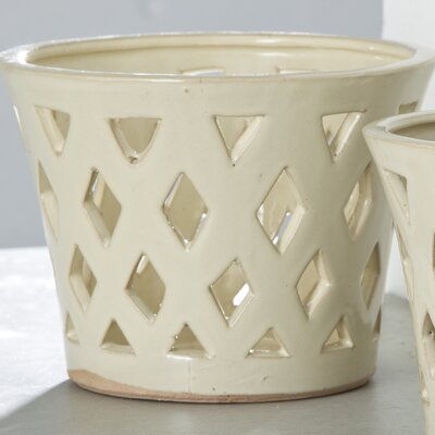 Pacifica Terracotta Pot Planter Size: Large, Color: Cream 2211-12304