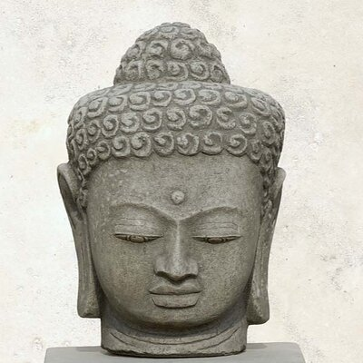 Antique Buddha Head Statue Color: Alpine Stone OR-38-AS