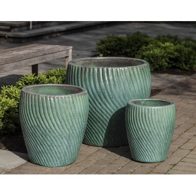 American garden decor - Pettiford 3-Piece Terracotta Pot Planter Set - Color: Celadon Pearl - Latitude Run Planters