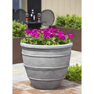 Petterson Round Fiberglass Clay Composite Pot Planter Color: Concrete Lite, Size: 13.8