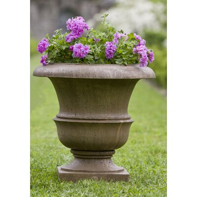 "Williamsburg Cast Stone Urn Planter Size: 17"" H x 17"" W x 17"" D, Color: Alpine Stone P-496B-AS"
