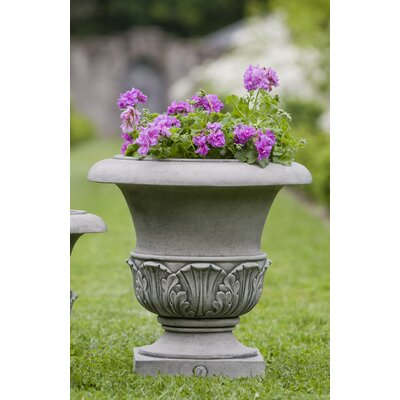 "Williamsburg Cast Stone Urn Planter Size: 17"" H x 17"" W x 17"" D, Color: Alpine Stone P-497B-AS"