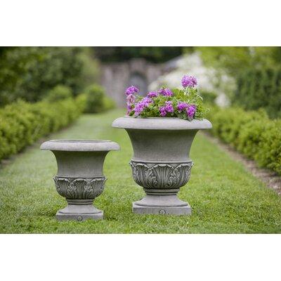 "Williamsburg Cast Stone Urn Planter Size: 17"" H x 17"" W x 17"" D, Color: Alpine Stone P-497B-AS"
