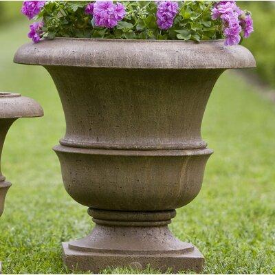 "Williamsburg Cast Stone Urn Planter Size: 17"" H x 17"" W x 17"" D, Color: Alpine Stone P-496B-AS"
