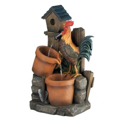 Resin Rooster Water Fountain 10017065