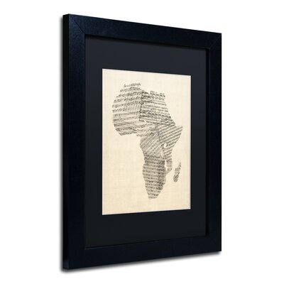 Old Sheet Music Map of Africa Framed Graphic Art in Black Size: 14