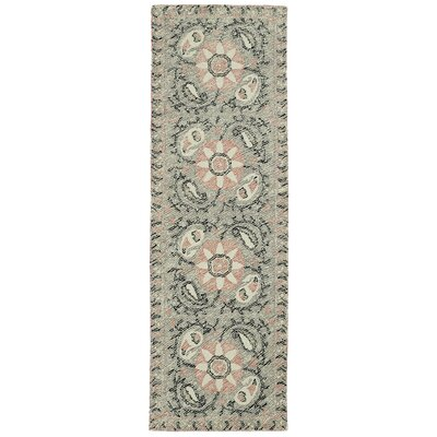 Valenzano Hand-Tufted Gray/Black Area Rug Rug Size: Runner 26 x 8