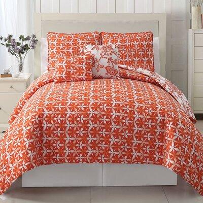 Earlybird 5 Piece Reversible Coverlet Set Size: Full / Queen, Color: Orange