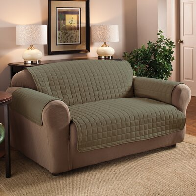 Box Cushion Sofa Slipcover Size: 120 W x 75.5 D, Upholstery: Chocolate
