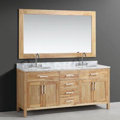 Middletown 72 Double Bathroom Vanity Set with Mirror Base Finish: Oak