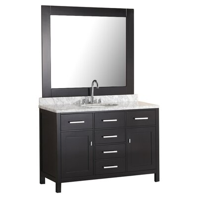 Middletown 48 Single Vanity Set with Mirror Base Finish: Espresso