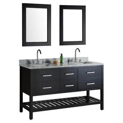Middletown 61 Double Bathroom Vanity Set with Mirror Base Finish: Espresso