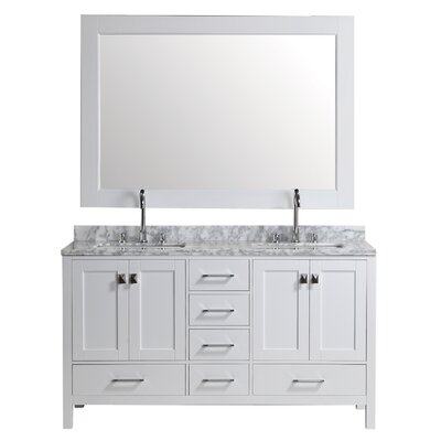 Middletown 60.75 Double Bathroom Vanity Set with Mirror Base Finish: White