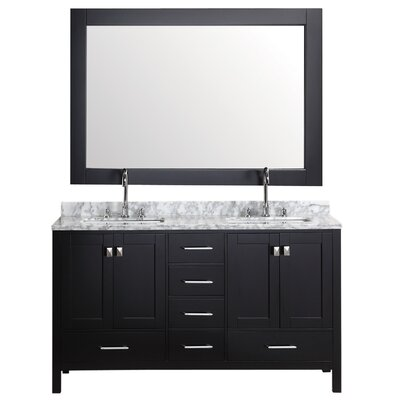 Middletown 60.75 Double Bathroom Vanity Set with Mirror Base Finish: Espresso