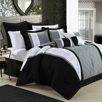Green River 12 Piece Comforter Set Color: Black, Size: King