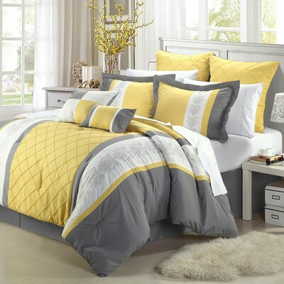 Green River 12 Piece Comforter Set Size: Queen, Color: Yellow