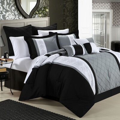 Green River 8 Piece Comforter Set Color: Black, Size: King
