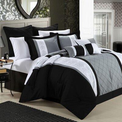 Green River 8 Piece Comforter Set Color: Black, Size: Queen