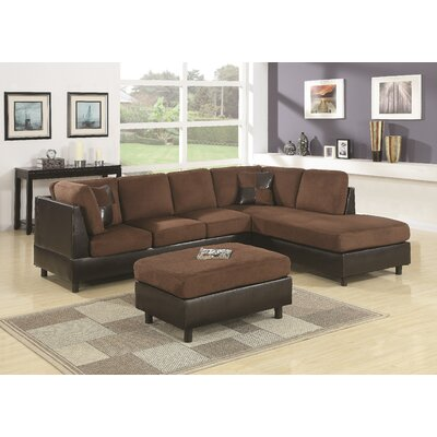 Grey Sail Reversible Sectional Upholstery: Chocolate