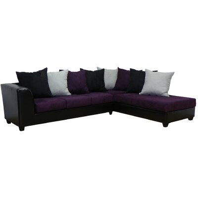 Burwood Sectional Upholstery: Black/Eggplant/Black/Lightning