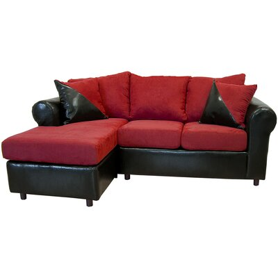 Millersburg Sectional Upholstery: Bulldozer Burgundy/San Marino Black