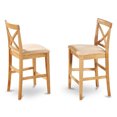 Smokehouse 24 Bar Stool (Set of 2) Finish: Oak, Upholstery: Microfiber
