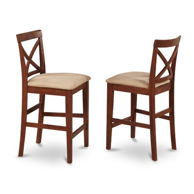 Smokehouse 24 Bar Stool (Set of 2) Finish: Dark Brown, Upholstery: Microfiber