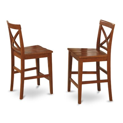 Smokehouse 24 Bar Stool (Set of 2) Finish: Dark Brown, Upholstery: Wood