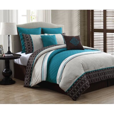 Adelbert 8 Piece Comforter Set Color: Blue, Size: Queen