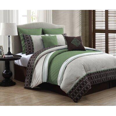 Adelbert 8 Piece Comforter Set Color: Green, Size: Queen