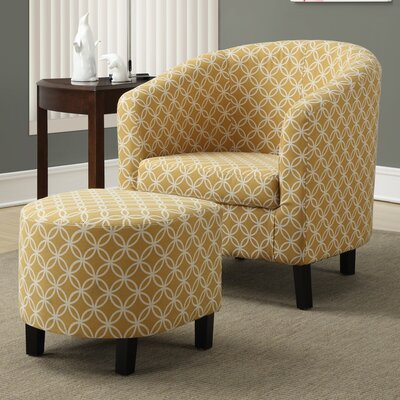 Brownell Barrel Chair and Ottoman Set Upholstery: Burnt Yellow